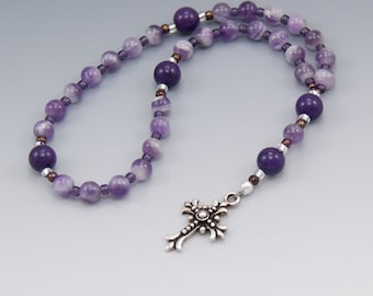 Anglican Prayer Beads Rosary - Purple Amethyst - Christian Prayer Beads - Ladies Rosary - Christian Gifts - Item # 757