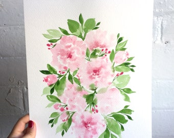 Watercolor Peonies 9x12 *ORIGINAL ART*