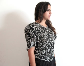 black sequined blouse - 80s vintage silk silver floral disco cocktail party beaded trophy shirt scalloped slouchy draped tent deadstock top