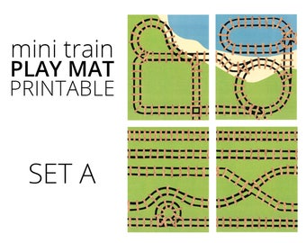 Mini Train Printable Play Mat - Set A. Travel Train Toy and Quiet Toy