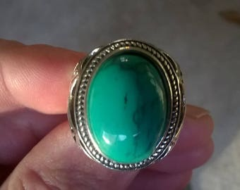 Handsome Southwestern style Green Turquoise Men's Ring, Sterling Silver, size 11.5