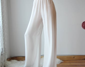sheer silk pants with palazzo legs and high waist - BROOK silk chiffon bridal lingerie and sleepwear range - made to order