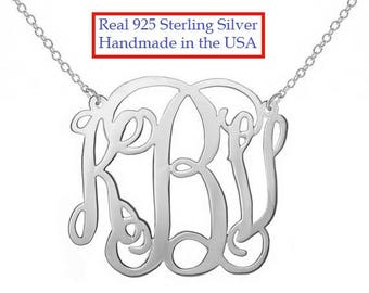 Personalized Silver Monogram Necklace, 1 inch  (small) Any initial Silver Monogram, made with 925 sterling silver
