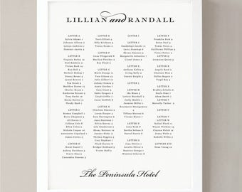 Printable Seating Chart Poster Template | Formal Script | Word or Pages | 18x24 | Editable Artwork Colors | Instant Download