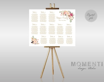 Wedding seating chart printable garden peach cream guests wedding seating chart printable gold guests list watercolor printable boho guest list seating chart junglespirit Image collections