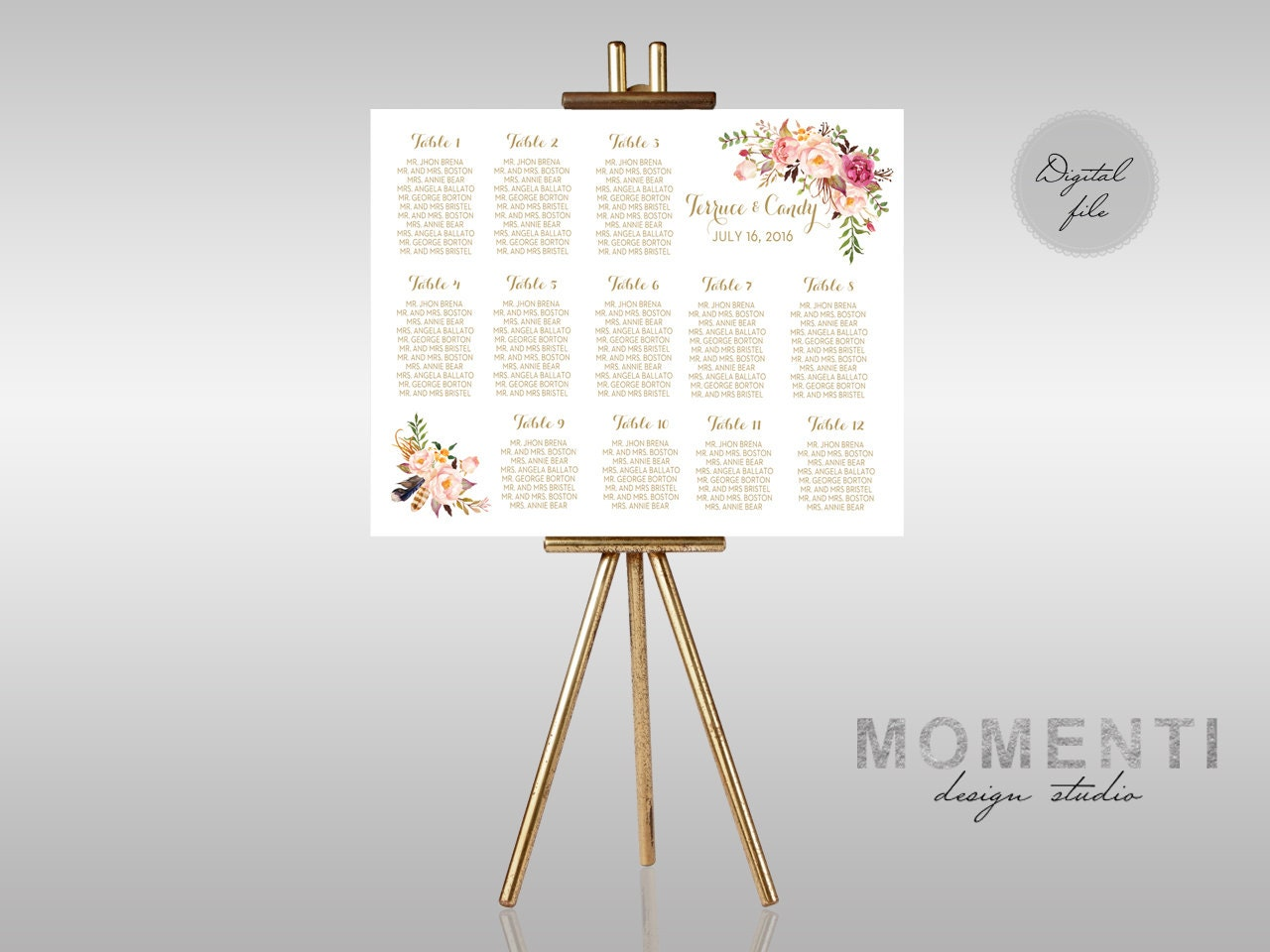 Wedding seating chart printable gold guests list watercolor zoom alramifo Gallery
