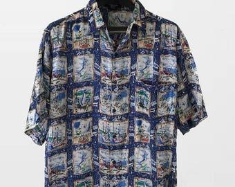 100% Silk  Button up short sleeve Shirt