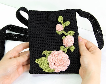 Crochet Cell Phone Case for Women or Girls / Smartphone Crossbody Purse / Knitted Iphone Bag with Pink Flowers / Smartphone Sock Cross Body