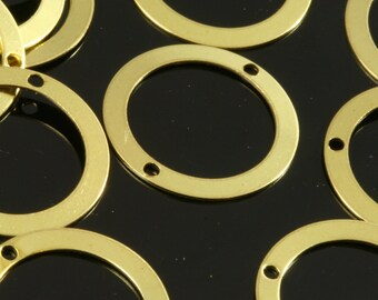 100 pcs 17 mm raw brass circle tag 2 hole raw brass connector charms ,raw brass findings 292R-36