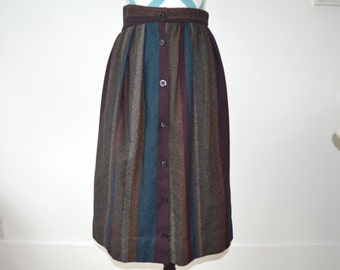 Vintage 1950s Wool Striped Skirt - Button Down - Brown, Gray, Purple, Teal Autumnal Fall - Small Medium