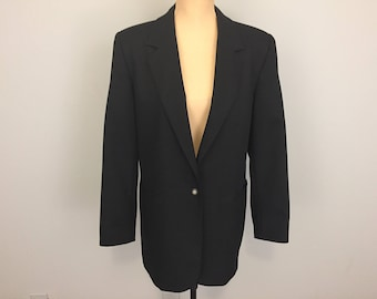 Womens Black Jacket Long Blazer Suit Jacket Womens Jackets Womens Blazers Size 12 Minimalist Clothing Simple Blazer Large Womens Clothing
