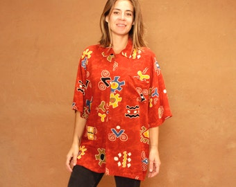 vintage BATIK versace style 90s in living color SLOUCHY oversize floral grunge blouse shirt