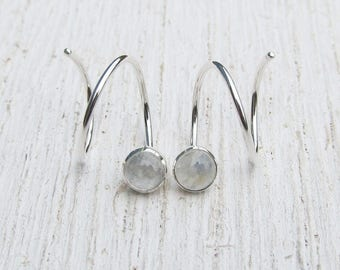 Rainbow Moonstone Hoop Earrings for Two Piercings / Double Pierced Earrings / Argentium Sterling Silver for Double Piercing / Spiral Hoops