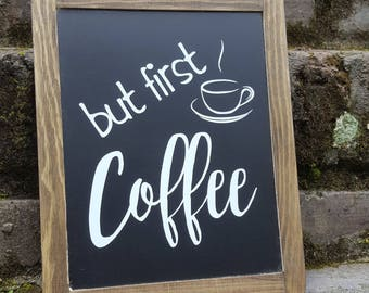 Coffee Chalkboard Sign, Kitchen Decor, Framed