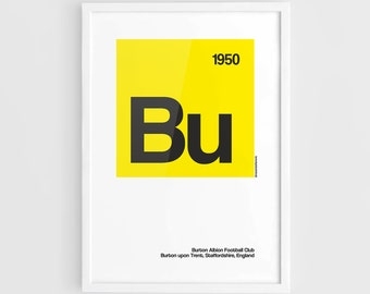 Burton Albion FC Football Elements Poster - A3 Wall Art Typography Print Poster, Minimalist Poster, Football Poster, Soccer Poster