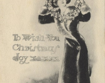 Pretty Lady with Wreath Christmas Greetings Vintage Postcard 1911