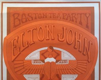 1970s Elton John Poster, Original Concert Poster, Orange Psychedelic Art, Boston Tea Party - Ravioli Graffiti