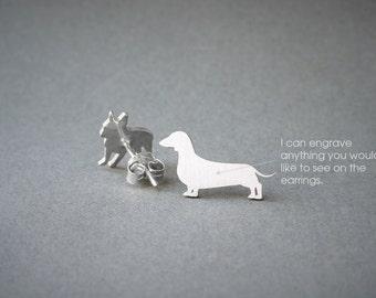 DACHSHUND NAME Earring - Dachshund Shorthaired Name Earrings - Doxie Earrings - Dog Breed Earrings - Dog Earring