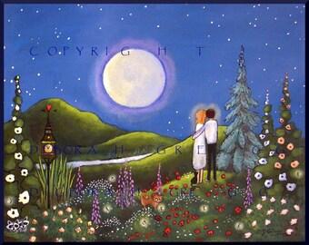 Soul Mates  a small Summer Love Flower Garden yorkie Moon Print by Deborah Gregg