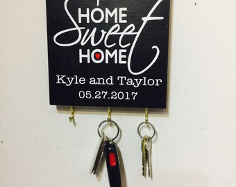 Personalized Home Sweet Home Key Holder. Perfect Realtor Gift, Housewarming Gift.  Wedding Gift