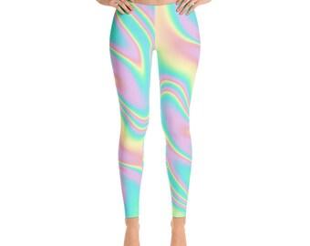 Pastel goth kawaii rainbow wave Leggings