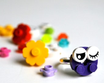 Play Day Lego Ring in Purple - Build Your Own LEGO Jewelry - Create Play Pretend - Flower - Upcycled - Kid Jewelry - Tweens