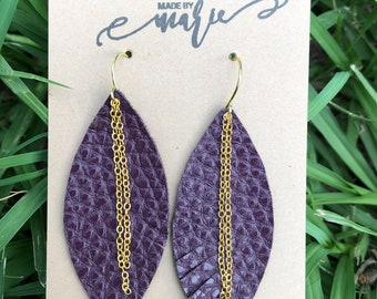 Purple pebbled leather leaf and gold chain earrings