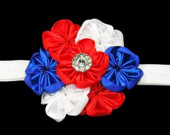 4th of July Baby Headband, Patriotic Headband, Infant Headband, Baby Headband, Baby Girl Headband, Stretch Headband, Satin Flower Headband