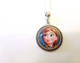 Necklace glass cabochon 20mm Locket silver Anna, frozen