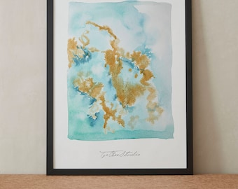 Abstract Contemporary Golden Lake Watercolor Painting, Printable Art, Original art, Floral Wall Art, Instant Download