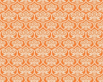 Orange Halloween Damask Fabric, Happy Haunting, Riley Blake C4671 Orange, Deena Rutter, Orange & Cream Damask Halloween Quilt Fabric, Cotton