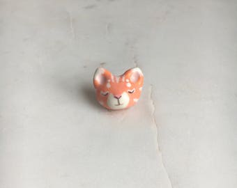 White & Orange Kitty Cat Porcelain Magnet