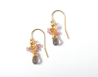 Cluster Earrings, Gold Cluster Earrings, Gemstone Earrings, Gemstone Cluster Earrings, Pink Sapphire Earrings, Labradorite Earrings, Pink