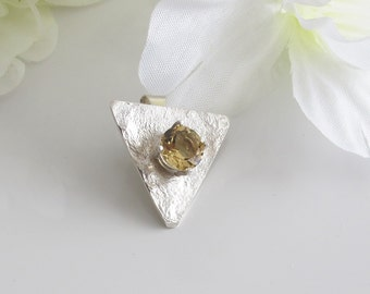 Birthstone Jewelry, Yellow Citrine Pin OR Pendant on Textured Sterling Triangle