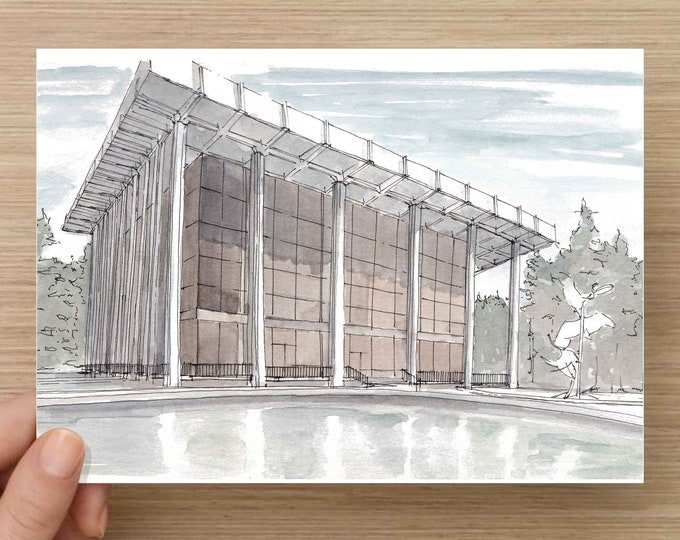 Ink and Watercolor Drawing of the Ambassador Auditorium in Pasadena, California - Modern Architecture, Sketch, Art, Pen and Ink, 5x7, 8x10