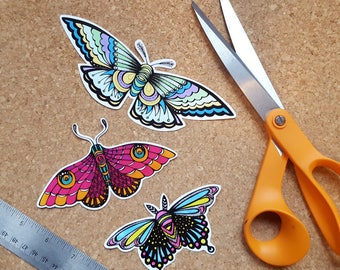 Colorful Moth Sticker Pack - 3 Stickers