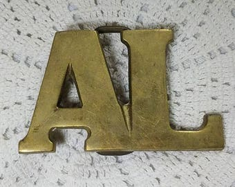 Vintage Brass AL Belt Buckle