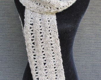 Hand Crocheted Winter Wool Taupe Scarf