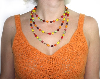 Vintage Multi Colored Extra Long Beaded Statement Necklace