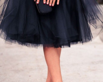 Knee Length Black Tulle Skirt/ 60 Colours Available in High Quality Tulle