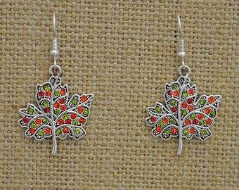 Autumn Leaves Rhinestone Earrings Fall Thanksgiving Jewelry