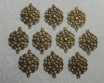 "Vintage silver(gold shown)plate brass filigree connectors with 2 rings,9/16th"",10pcs-FLG18S"