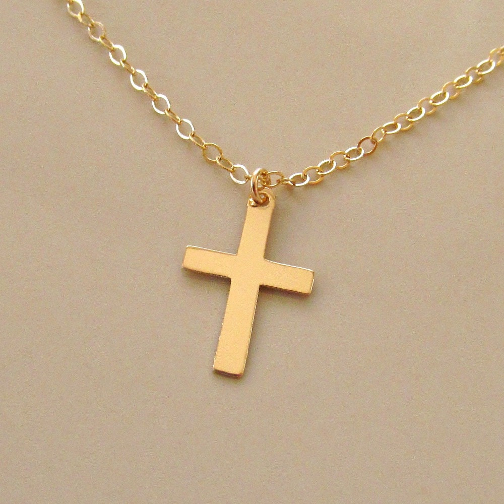 Gold cross necklace cross necklace 14kt gold filled cross zoom mozeypictures Image collections