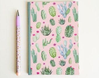 Cactus Pocket Notebook - A6 Lined Notebook - Pocket Journal - Cactus Journal - Cacti Stationery - Illustrated Notebook - Plant Lady Gift