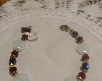 Black Red and White Handmade Beaded Bracelet