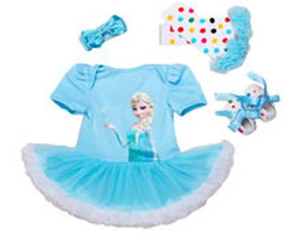 4 Pieces Princess Elsa Disney Frozen Tutu Set, Disney Princess Frozen, Birthday Set Includes Top/Onesie,Tutu, Hairband, Shoes, Leg Warmers