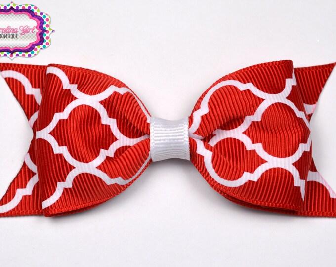 "Red Quatrefoil Tuxedo Bow  ~ 3.5"" Hairbow ~ Small Hair Bow ~ Girls Barrette ~ Toddler Bow ~ Baby Hair Bow ~ Hair Clip ~ Girls Hair Bow"