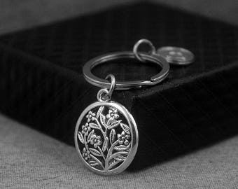 Flower Keychain -Floral Keyring -Initial Keychain -Your Choice of A to Z