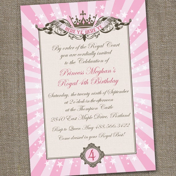 Pink Princess Invitation Princess Party Invitation Princess