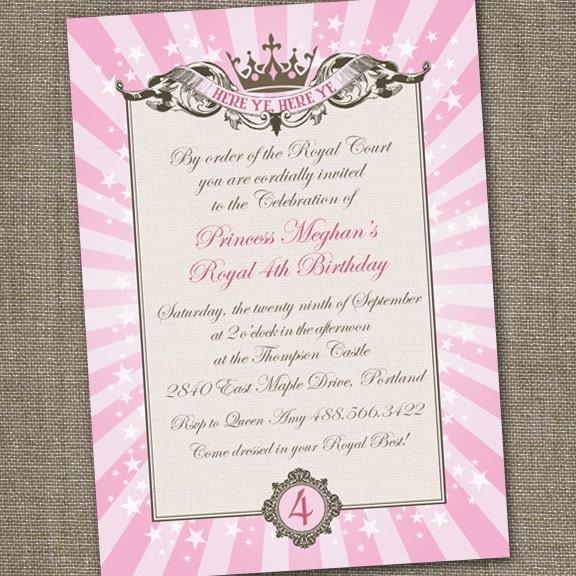 Pink Princess Invitation Princess Party Invitation Princess